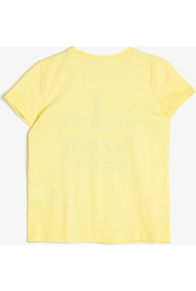 Koton Kız Çocuk Yumusak Pamuklu Baskılı Bisiklet Yaka Kısa Kollu T-Shirt