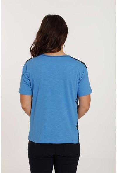 Top Secret Büyük Beden Baskılı Taşlı T-shirt