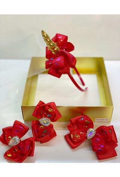 Queen Accessories Kırmızı 4'lü Kristal Taşlı Unicornlu Anne Kız Bebek Kombin Taç Toka Seti