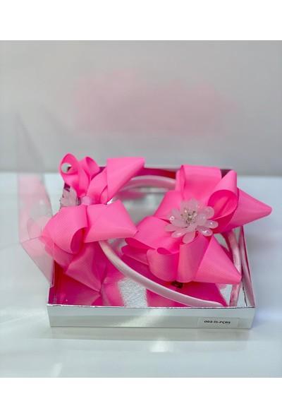 Queen Accessories Pembe 2'li Çiçek Broşlu Anne Kız Çocuk Bebek Kombin Saten Taç Toka Seti
