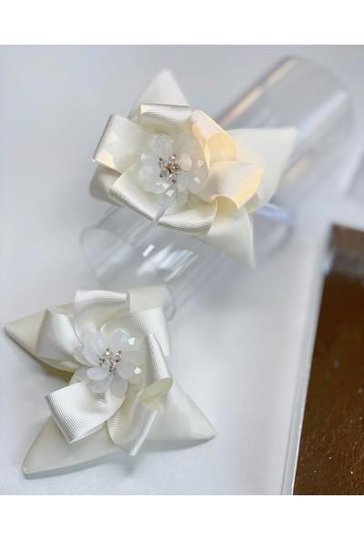 Queen Accessories Krem 2'li Çiçek Broşlu Anne Kız Çocuk Bebek Kombin Saten Taç Toka Seti