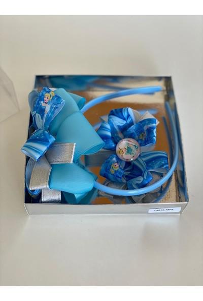 Queen Accessories Mavi 2'li Prenses Sindirella Anne Kız Çocuk Bebek Kombin Saten Taç Toka Seti