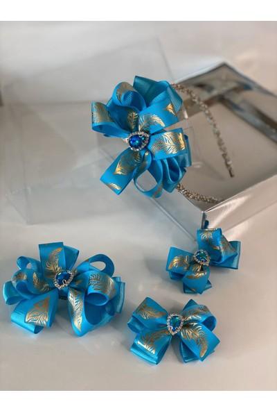 Queen Accessories Mavi 4'lü Kristal Taşlı Gold Yaprak Desenli Anne Kız Bebek Kombin Tak Çıkar Taç Toka Seti
