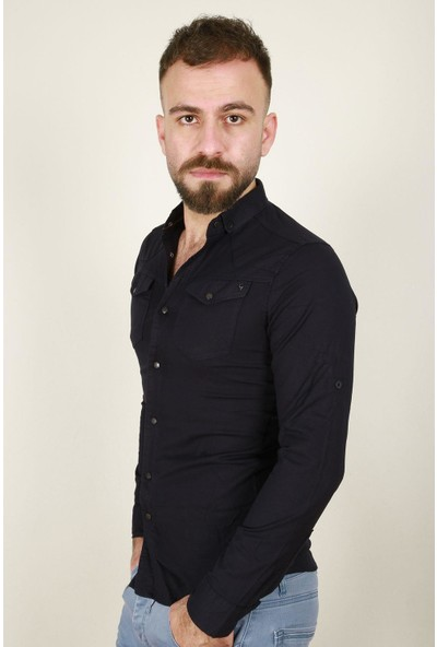 Z Giyim Erkek Pamuklu Slimfit Çıtçıt Düğmeli Çift Cepli Uzun Kol Spor Gömlek 5250ZGM20