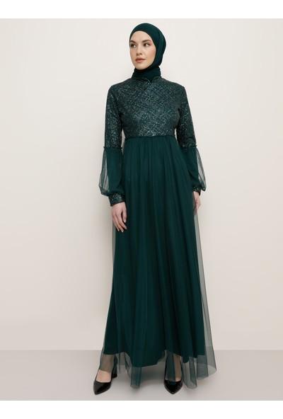 Tavin Kadın Tül Detaylı Pırıltılı Abiye Elbise