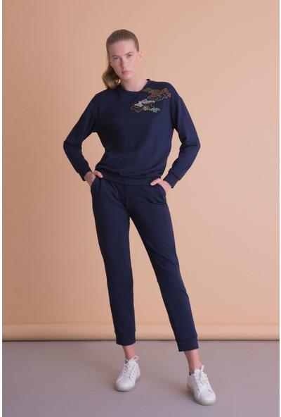 Gizia Aplike Detaylı Lacivert Sweatshirt