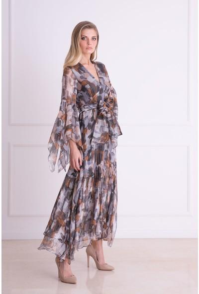 Gizia Asimetrik Kesim V Yaka İpekli Kumaş Uzun Elbise