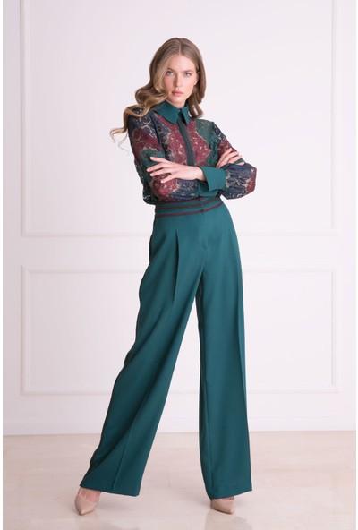 Gizia Bel Şerit Detaylı Yeşil Bol Paça Pantolon