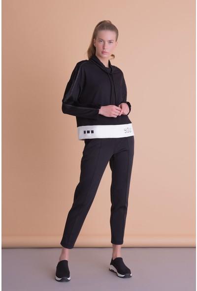 Gizia Boyun Bağcıklı Siyah Spor Sweatshirt