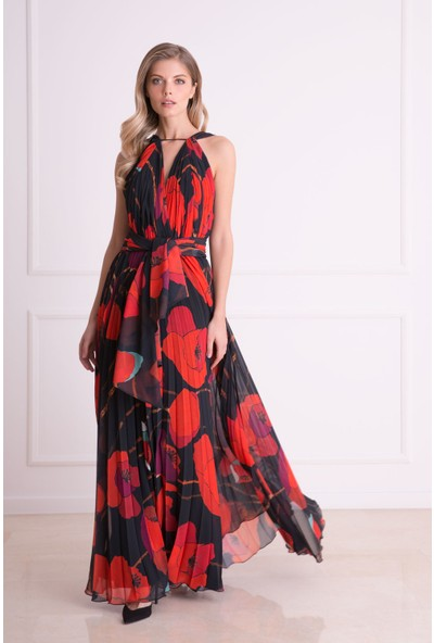 Gizia Çiçek Desenli Askılı Kırmızı Uzun Elbise