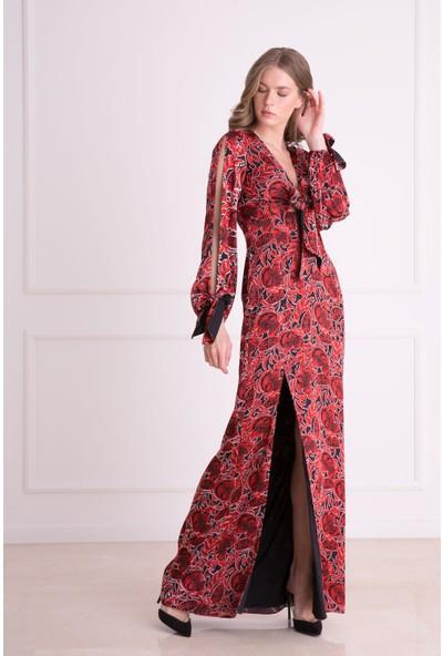 Gizia Çiçek Desenli Derin Yırtmaçlı Kırmızı Uzun Elbise