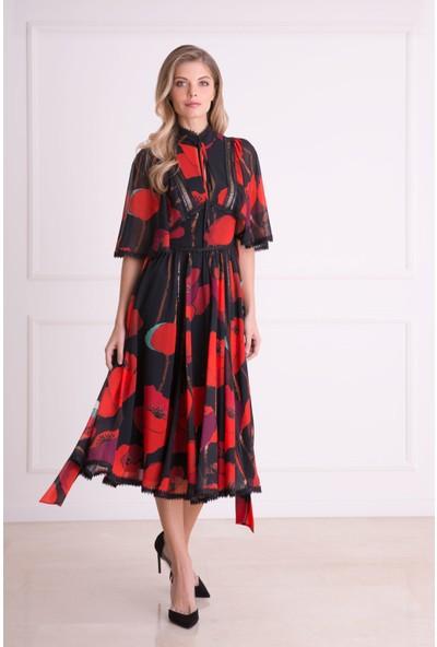 Gizia Çiçek Desenli Kısa Kollu Kırmızı Midi Elbise