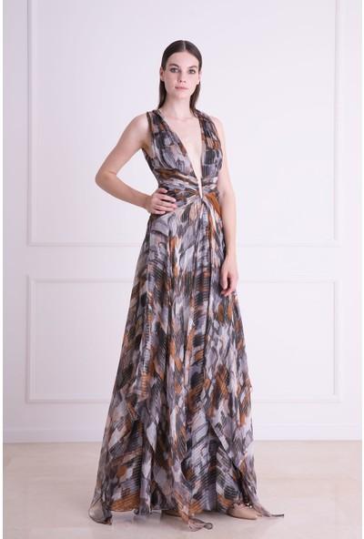 Gizia Derin Dekolteli Kendinden Desenli Uzun Elbise