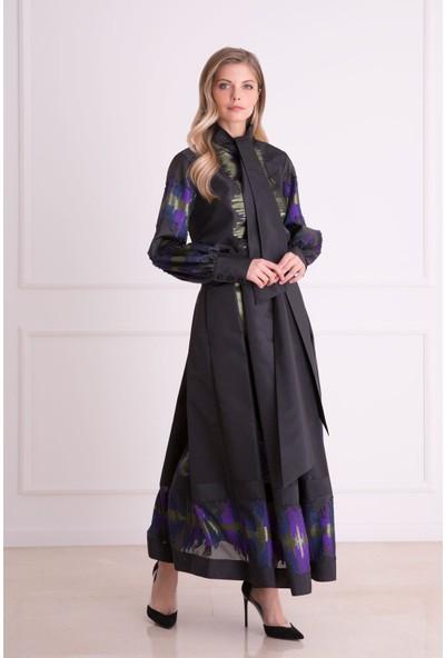 Gizia Desenli Siyah Uzun Etek