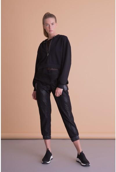 Gizia File Detaylı Kapüşonlu Siyah Sweatshirt
