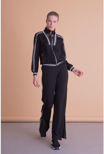 Gizia File Şerit Detaylı Fermuarlı Siyah Sweatshirt