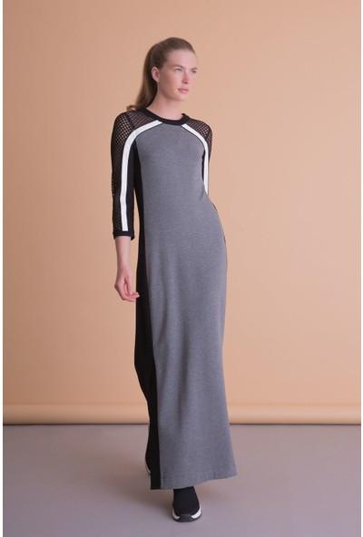 Gizia File Şerit Detaylı Uzun Gri Spor Elbise