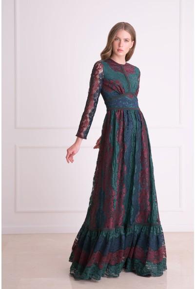 Gizia Güpür Dantel Detaylı Uzun Çok Renkli Elbise