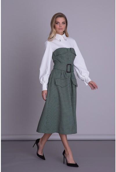 Gizia Kemer Detaylı Yeşil Pötikare Straplez Elbise