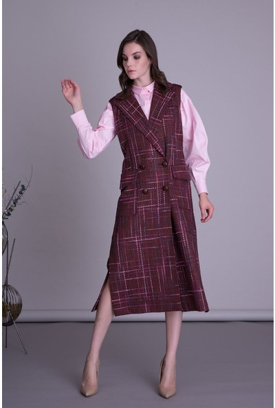 Gizia Kendinden Desenli Bordo Kumaş Yelek Elbise