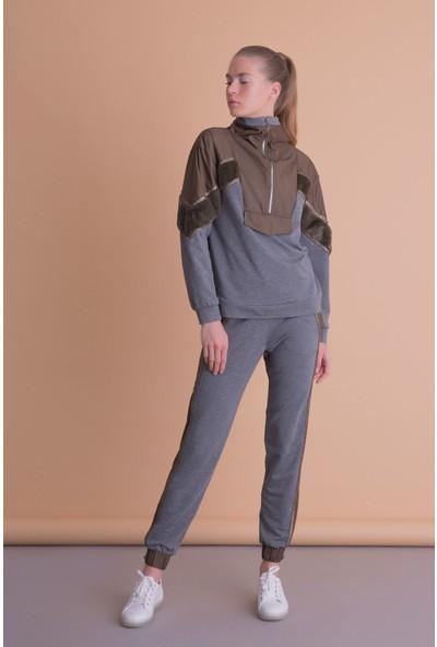 Gizia Kürk Detaylı Kahverengi Gri Fermuarlı Sweatshirt