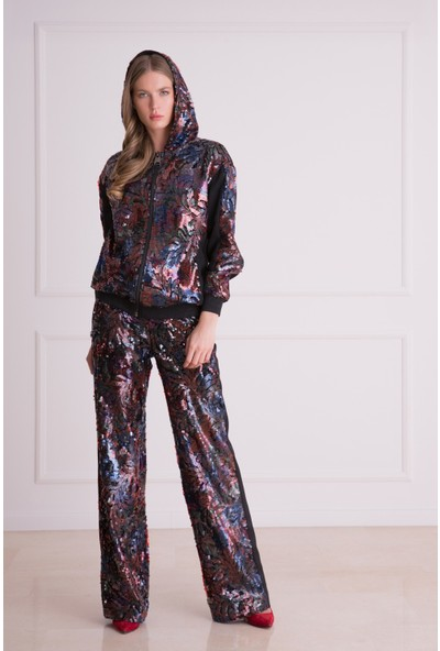 Gizia Pul Payet İşlemeli Kapüşonlu Sweatshirt