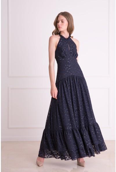 Gizia Sırt Bağlamalı Lacivert Kloş Uzun Elbise