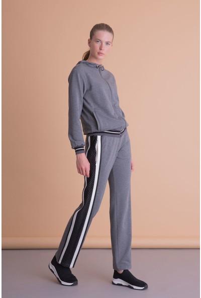 Gizia Sırt File Detaylı Antrasit Gri Kapüşonlu Sweatshirt