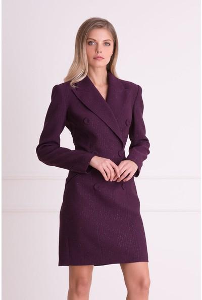 Gizia Sim Detaylı Mor Ceket Elbise
