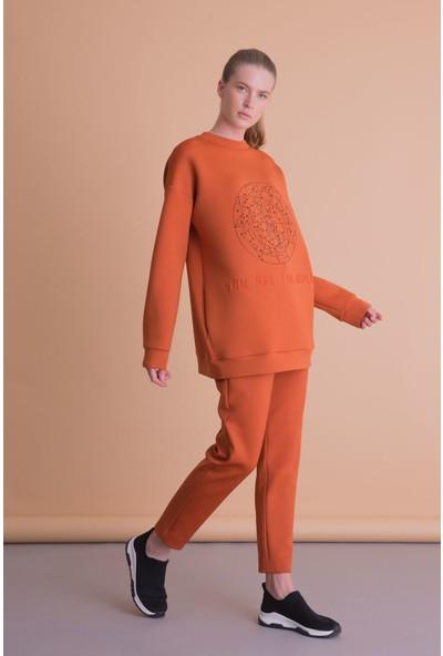 Gizia Taş Baskılı Turuncu Scuba Sweatshirt
