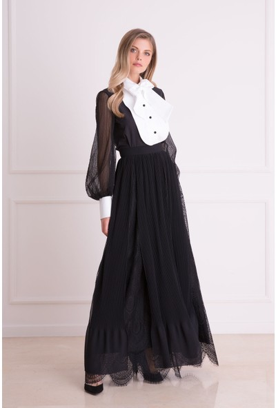 Gizia Tül Detaylı Siyah Uzun Etek