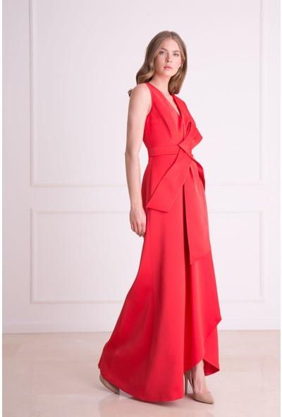 Gizia V Yaka Kuşak Detaylı Kırmızı Elbise