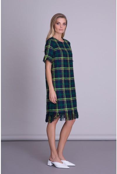 Gizia Yeşil Ekose Desenli Lacivert Kısa Kollu Elbise