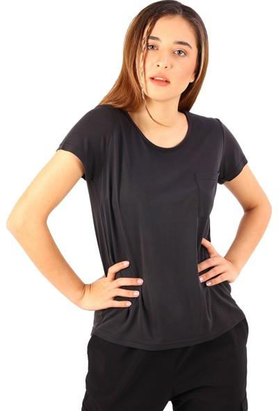 Alexandergardı Cepli Bisiklet Yaka T-Shirt Füme (BYN130002)