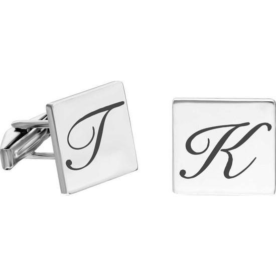 Tesbihane Kişiye Özel Harf Yazılı Kare Tasarım 925 Ayar Gümüş Kol Düğmesi