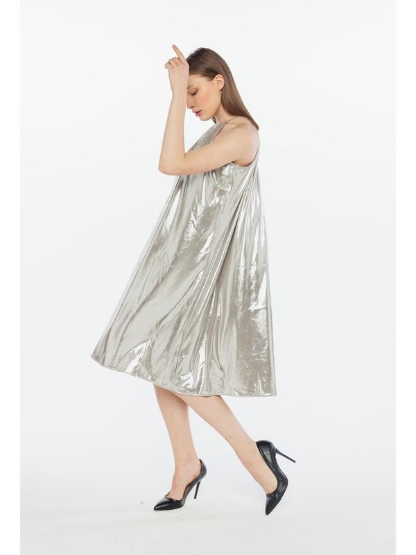 Yellowish Askılı Gümüş Elbise
