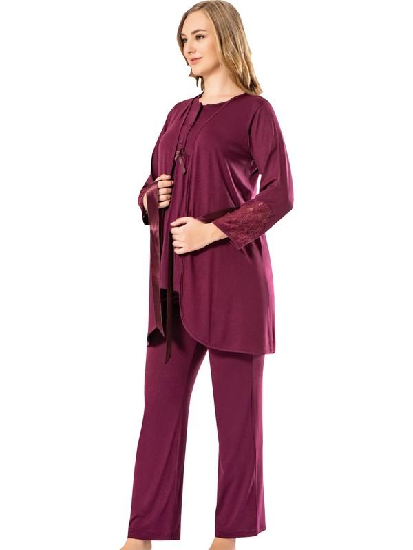 Tampap 3755 3'lü Emzirme Detaylı Dantelli Kadın Lohusa Pijama Takımı Bordo