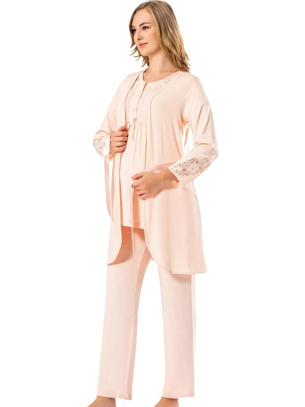 Tampap 3755 3'lü Emzirme Detaylı Dantelli Kadın Lohusa Pijama Takımı Somon