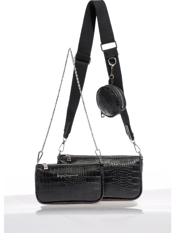 Sergio Giorgianni Luxury SG2111 Siyah Kadın Çapraz Çanta