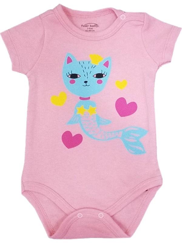 Fuar Kız Bebek Kısa Kol Çıtçıtlı Badi - Zıbın