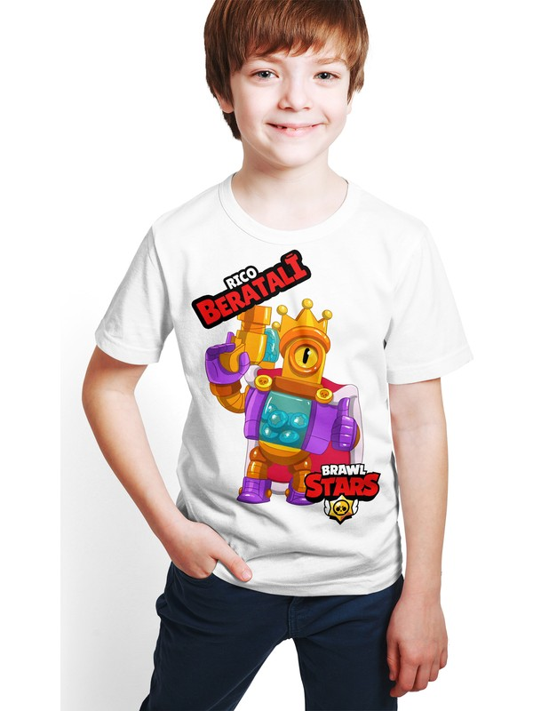 Brawl Stars - Rico - Dijital Baskılı Beyaz Kişiye Özel T-Shirt E-02