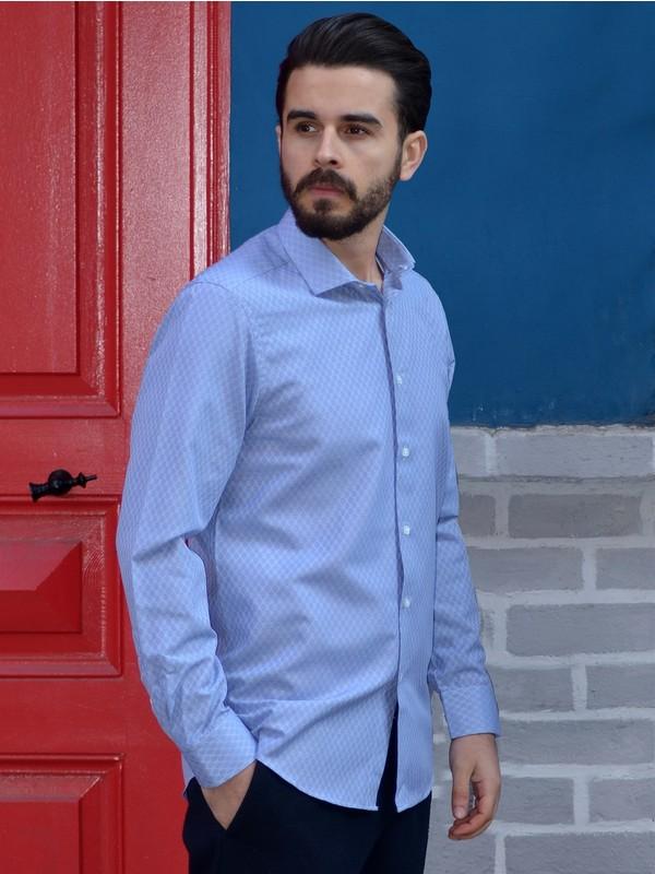 Dufy Lacivert Desenli Klasik Erkek Gömlek - Slim Fit