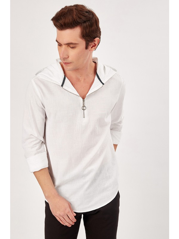 Manche Beyaz Erkek Kapşonlu Yarım Fermuarli Gömlek Me20S112214