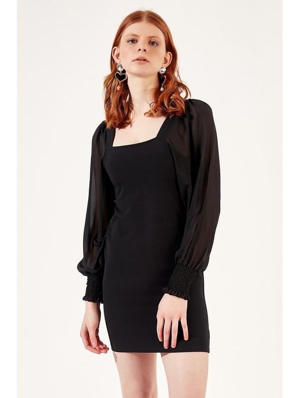 Manche Siyah Kadın Kare Yaka Kollari Tül Elbise Mk20S289200