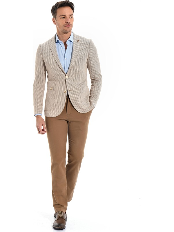 Morven Cotton Trend Slim Fit Ceket Bej