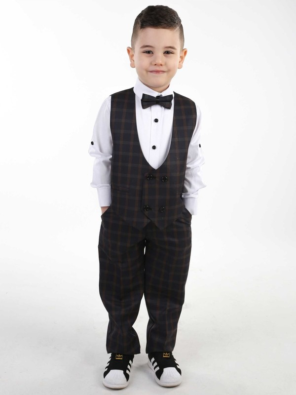 Modakids Kahverengi Yelekli Papyonlu Erkek Çocuk Takım Elbise