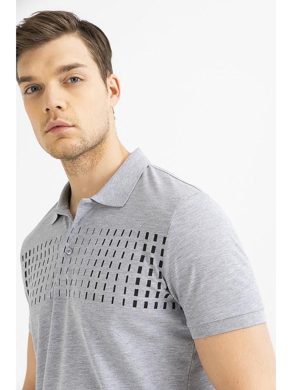Avva Erkek Gri Polo Yaka Baskılı T-Shirt A01S1274