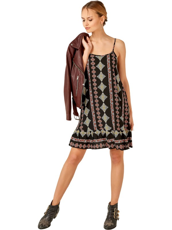 Flow By Saba Tümer Mini Elbise Baklava Siyah M