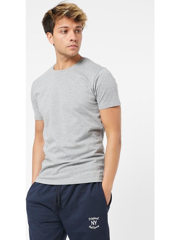 Twenty3 Erkek Sıfır Yaka Regular Fit Basic T-Shirt