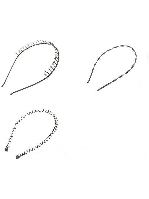Esen Siyah Metal Saç Tacı 3'lü Set